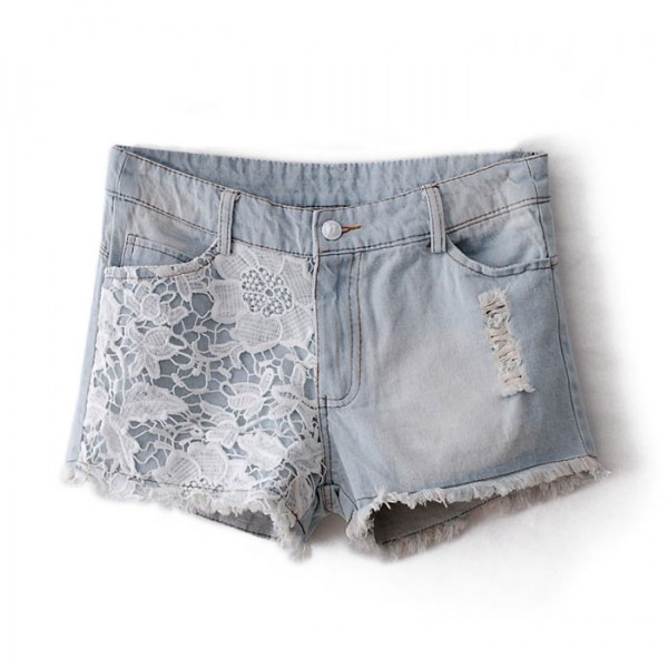 Floral Lace Ripped Denim Shorts on Luulla